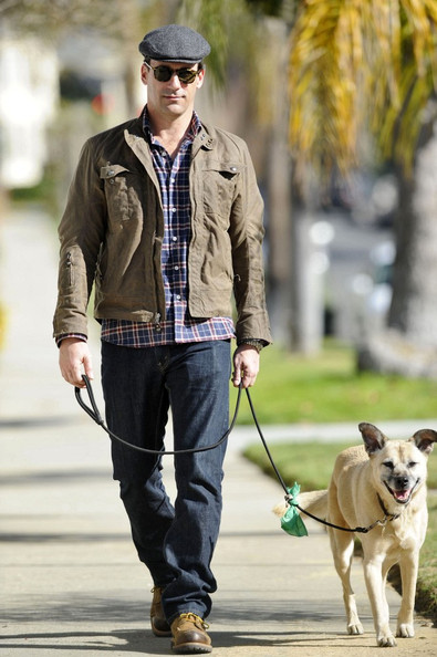In lieu of a pic of Beiber, here's Jon Hamm walking his dog.