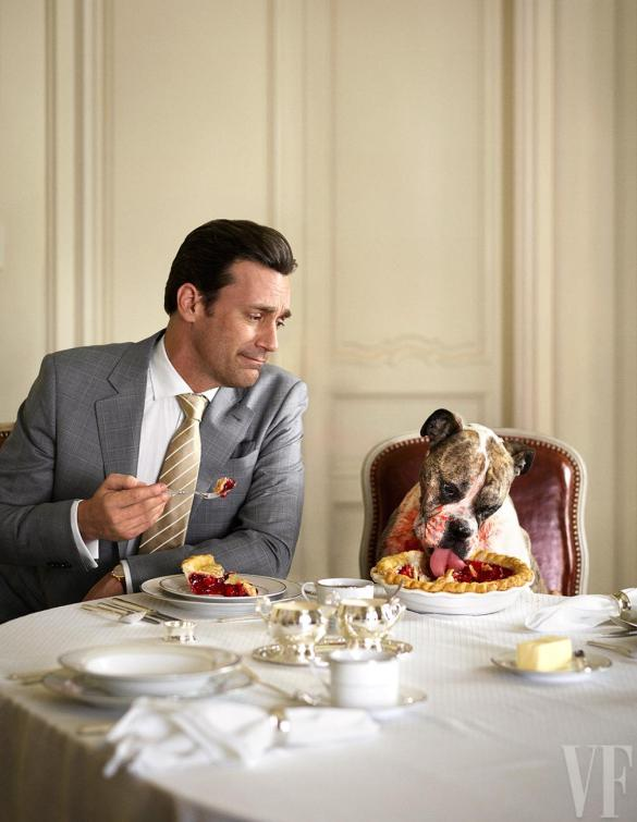 "Just thinking about Seth's ""We Love Your Boobs"" makes me so sad I need to look at this adorable pic of Jon Hamm eating breakfast with a dog. #ifeelbetternow"